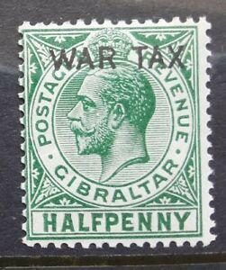 Gibraltar 1918 -  KGV ½d green MNH ovpt. WAR TAX stamp  SG86