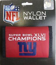 NFL Football New York Giants Nylon Trifold Wallet Super Bowl XLVI Champion's
