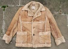 VINTAGE Schott Mouton in montone shearling in pelle Western CONTADINO Cappotto Giacca 44