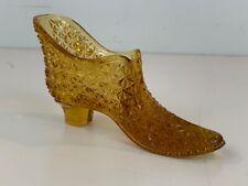 Antique EAPG Herman Tappan Amber Diamond Cut Glass Miniature Cat Shoe / Slipper