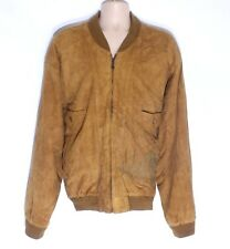 Men's Vintage BERTO LUCCI Brown Soft 100% Leather Bomber Flying Jacket Coat 2XL