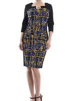 Joseph Ribkoff Black/Royal Blue Colorblock Sheath Dress Sz 10 (UK 12) New 173683