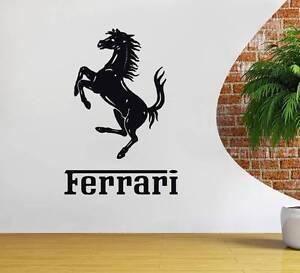 FERRARI LOGO Decal WALL STICKER Silhouette Home Decor Art Race Luxury Cars ST77