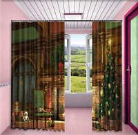 Christmas Fireplace 3D Curtain Blockout Photo Printing Curtains Drape Fabric