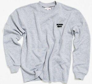 Crew Neck Sweatshirt Pullover Womens Fleece Rib Cuffs Raw Hem Silver lurex logo