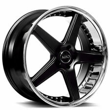 "(4Rims) 22"" Staggered Azad Wheels AZ008 Semi Gloss Black with Chrome Lip HotDeal"