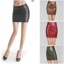 Women Faux Leather Skirt Stretch High Waist Skirt Bodycon Zip Mini Short Skirt B