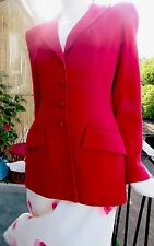 Paddy Campbell Red Tailored Jacket Formal Crepe Wool Dazzling Lux Fashion Sze 10