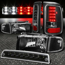 BLACK HOUSING HEADLIGHT+CLEAR LED TAIL LIGHT+3RD BRAKE LAMP FOR 94-02 DODGE RAM