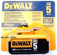 1 NEW IN PACKAGE Genuine Dewalt 20V DCB205 5.0 AH Battery For Drill, Saw 20 Volt