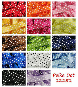 Polka Dot Ribbon Classic Satin by Berisfords 15mm and  25mm 15 Colours