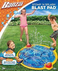 "Banzai Water Sprinkler Mat Stomp N Splash Blast Pad 44"" Outdoor -New Damaged Pkg"