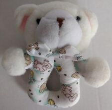 Carters Classics Teddy Bear Baby Rattle Lovey White Blue Pink Honey Pot Bee Rare