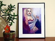 Margot Robbie Harley Quinn Tattoo Beautiful - A4 Glossy Poster - FREE Shipping