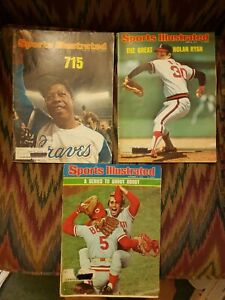 Vintage Sports Illustrated - 1970s - LOT OF 3 - HANK AARON, NOLAN RYAN, THE REDS