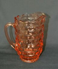 Indiana Whitehall Pitcher Pink Depression Glass Rare Cube Design 8 Inches IceLip
