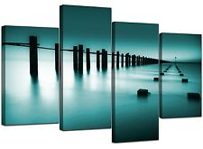 Large Teal Bedroom Landscape Canvas Wall Art Pictures Prints XL 4089
