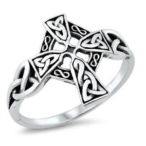 Unisex Sterling Silver Maltese Cross Ring Celtic Knots 925 Sizes 5-12 NEW