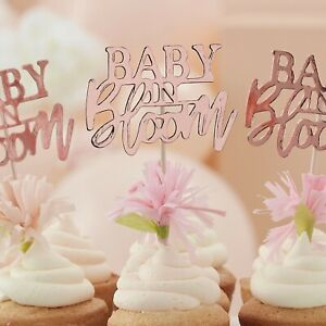 Baby in Bloom, Rose Gold Floral Baby Shower Party Cupcake Toppers x12
