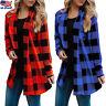Plus Size Women Long Sleeve Plaid Check Open Front Jacket Cardigan Blouse Top US