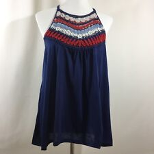 No Boundaries Womens Embroidered Crochet Tank Top Sleeveless Size Large