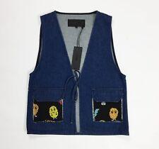 American retro smanicato jeans jacket donna senza manica giacca denim blu T3934