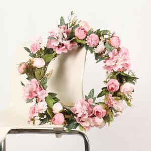 "16"" Artificial Rose Wreath Home Decoration Door Spring Summer Garden Wreath 40cm"