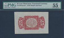 FR1291SP WIDE MGN 25¢ RED REVERSE W/O SURCHARGE GRADED PMG 55 UNC BR3211