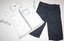 MONSOON British Boutique Designer 100% Linen Shirt Pants Boy Size 6-12 Months