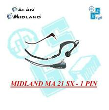 MICROFONO AURICOLARE MIDLAND MA 21 SX PTT REGOLABILE 1 pin 2,5 Alan 777 - Onda