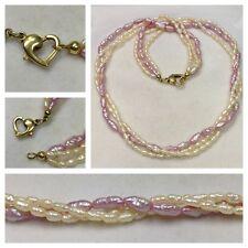 4a64946bf69c Agua Dulce Collar perlas 3 Remar herzverschluß BAÑADO EN ORO DOS COLORES  46cm