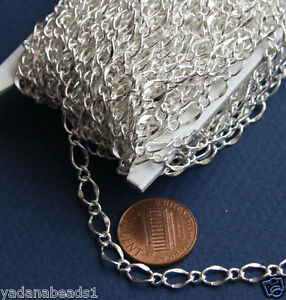 32ft of Silver Plated hammered chain 5X8mm
