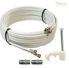 20m Cable For SKY+ HD / Q  Twin shotgun in White TV Satellite coax cable Lead