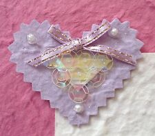 2 Lavender Hearts wedding Valentines heart sequins All Occasion Toppers Cards