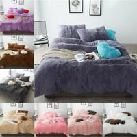 4Pcs Soft Fur Warm Winter Duvet Quilt Cover Bed Sheet Bedding Set High