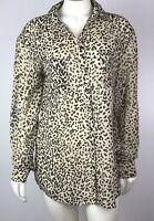 Kardashian Kollection Women's Blouse Size XS Semi Sheer Animal Leopard Print Top