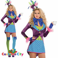 Women's Ladies Sexy Pretty Mad Hatter Costume Alice In Wonderland Fancy Dress