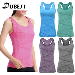 Women Yoga Tank Tops Fitness Gym Vest Sports Blouse Summer T Shirt Built-in Bra