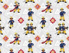 """Jersey """" Feuerwehrmann Sam """" hellgrau/weiß - Feuerwehr - Kinderstoff"""