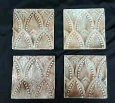 "Set of 4 Architectural Salvaged 6"" x 6"" Art Deco Ceramic Tile - 4 Sets Available"