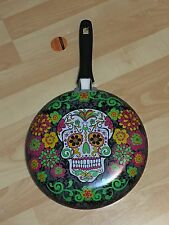 "Day of the Dead Dia de los Muertos Sugar Skull 10"" Inch Non-Stick Frying Pan NEW"