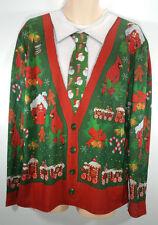 Faux Real Mens Large Ugly Christmas Xmas Tshirt Cardigan Shirt 1 Piece Print