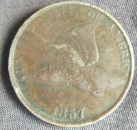 1857 Flying Eagle Cent Very Fine VF or Extremely Fine XF Detail Reverse Spot