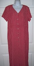 Women's Size 14 Long Dress XL Red & White Plaid by CRAZY HORSE Short Sleeve New