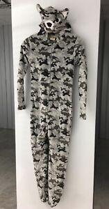 New Boys Gray Wolf Camo Plush One Piece Zipper Pajama Costume Size Medium 8-10