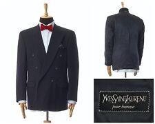 Mens YVES SAINT LAURENT Double Breasted Blazer Coat Jacket Black Size 42 52