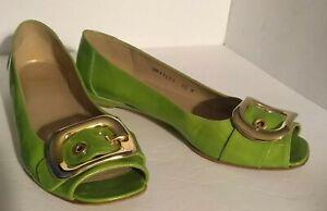 Stuart Weitzman Youngbuck Buckle Accent Peep Toe Flats Chartreuse Women Size 8.5