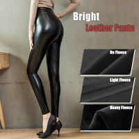 Plus Stretch-Fit Faux Leather Shaper PU High Waist Leggings Pants Warm For Women