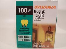 Yellow Bug Light Bulb 100W Watt Sylvania 2 Pack Outdoor Porch Non-attracting 100