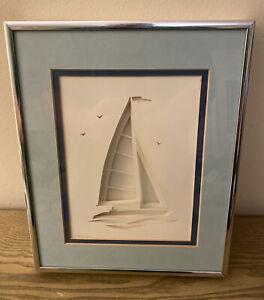 """HAND CUT, LAYERED PAPER, 3D ART * Sailboat * by Bill McCusker * Framed, 11""""x9"""""""